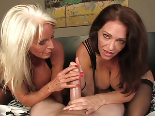 Milf with an increment of mature team wank.