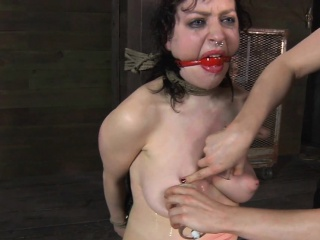 Master is giving gagged tolerant a brutal pussy gratifying