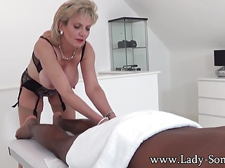 Daughter Sonia black guy massage with happy ending