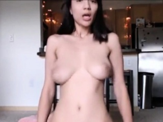 Riding my dildo not far from sparking tits
