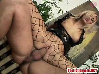 Fishnet Pantyhose Catches Dick