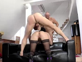 British MILF anal fucked concerning MMF threesome down senior guys