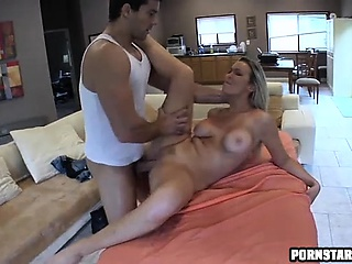Obese tit fair-haired gets rubbed almost