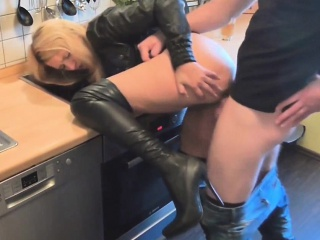Gorgeous housewife shagged less the larder