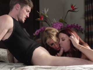 Bigtitted stepmom riding on every side troika with redhead