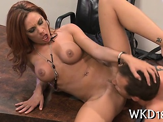 Wet pussy receives drilled