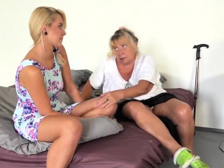 Granny Bertha Masturbates On Phone call