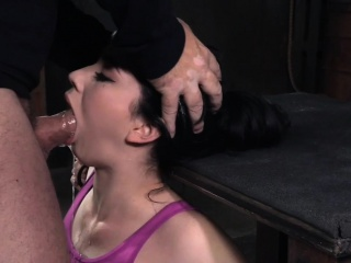 Bonded filial facefucked wits black maledom