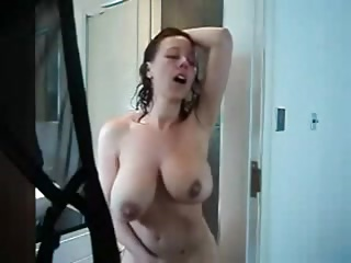 milf masturbating with the addition of profane greet after shower