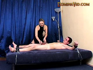 Mina ties manslave and plays close by him