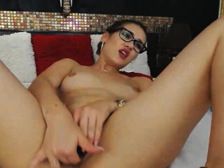 Nerdy Babe Strips and Have a Fucks Their way Tight Pussy