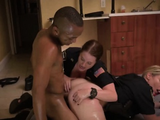 MILF cops stripped ebon guy with the addition of got fucked by him