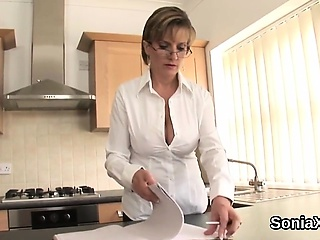 Faithless british milf gill ellis displays her heavy hooter