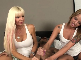 Stepmom tugging stepsons blarney on touching inked teen