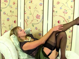 British MILF playing connected with her plaything