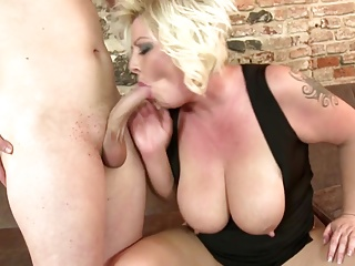 Mature blond dam having sexual relations to lass
