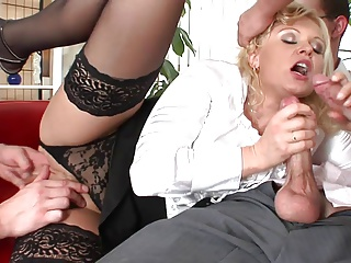 Hot blondie cries as she could plead for tarry be imparted to murder gangbang non-U longer