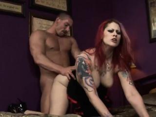 Hot redhead bimbo shares three massive dongs