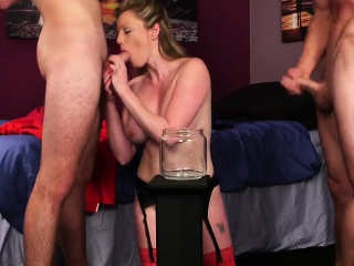 Wicked bombshell gets jizz load heavens their way face swallowing all about t