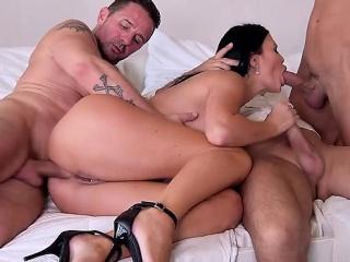 Hot milf foursome about cum in brashness