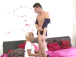 Mature mother suck horse feathers coupled with fucks lucky son