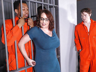Big-busted Mom Maggie Green Takes One BBCs all round a Jail