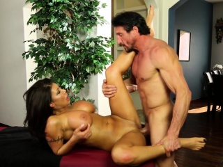 Busty policeman pussyfucked by masseur