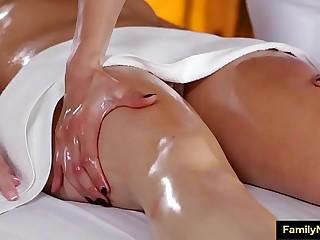 Sapphic stepmom daughter massage
