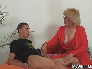 Mom-in-law rides him with the addition of wife comes in