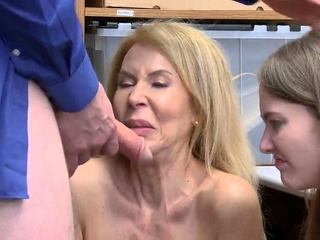 Natural hairy mature added to trapped in hardcore gangbang Suspec