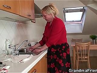 Duo repairmen fuck busty grandma from both fumbling