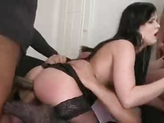 MILF in the matter of stockings gangbanged on moth-eaten