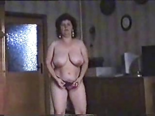 Marvellous striptease for hairy mature bitch. Amateur older