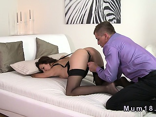 Chap-fallen matured in lingerie fucked and cummed