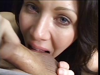 Brunette licks and sucks bosh during blowjob