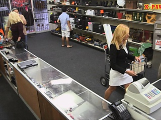 Erotic blonde milf pounded convenient the pawnshop to secure money